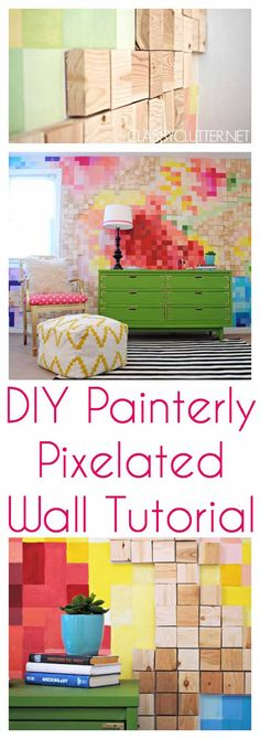 DIY Pixelated Art Wall   17 Amazing DIY Paint Chip Projects