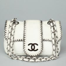 CHANEL White Leather Chain Trim Mini Madison Flap Shoulder H...