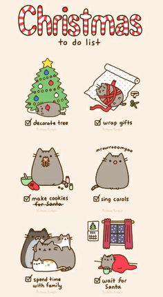 So cute! Pusheen the cat's Christmas To Do list. Pusheen Christmas, Christmas Cats, Xmas, Merry Christmas, Christmas Comics, Gato Pusheen, Pusheen Love, Pusheen Stuff, Crazy Cat Lady