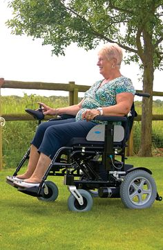 Built to travel over rough terrain the Corrado Electric Wheelchair is a great way to get around outdoors.