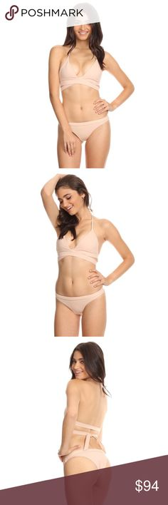 Kylie Nude Bikini NEW! 🎀This listing includes matching top and bottom. The Kylie Bikini comes in the color nude. Featuring a halter wrap around top, seamless, 4 way stretch material. Bottoms are Brazilian cut which makes the booty pop! Amazing quality made in the US!  lovecherise.com  * 4 way stretch material * Hand wash cold * Made in US  ✨No trades, not accepting offers. Pictures are of actual product, modeled by our models. Item is available if still listed! Love Cherise Swim Bikinis
