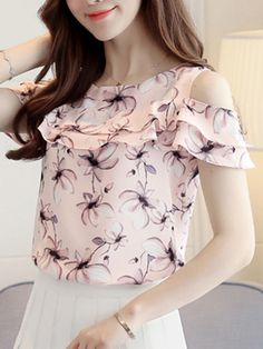 2018 Summer Print Floral Chiffon Blouse Women Off Shoulder Shirts Short Sleeve Blouses Casual Ladies Clothing Blusas Women Tops Chiffon Floral, Print Chiffon, Chiffon Shirt, Chiffon Tops, Ruffle Blouse, Cheap Blouses, Blouses For Women, Women's Blouses, Top Fashion