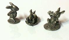 Lot of 3 Vtg 1980 Hudson Pewter Sharpe Figurines Bunny Rabbit 1835 1839 1842 EUC