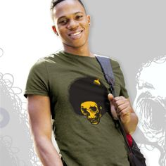 MENS AFRO SKULL TEE Two-color Afro Skull image screen printed on front, small one-color PDI Clothing logo screen printed on top back. This 4.3 oz. super-soft blended CVC crew t-shirt is made of 60% combed ring-spun cotton/40% polyester. It is incredibly comfortable and fabric laundered for reduced shrinkage. Available at www.pdiclothing.com Sizes: XS – 4XL. Available Colors: Espresso, Military Green, Heather Red  Price: $19.99