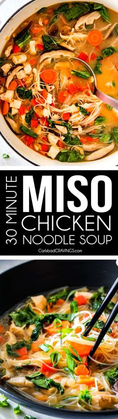 30 MINUTE Miso Soup bursting with chicken, noodles and vegetables swimming in a steaming hot, savory, salty broth is a meal-in-one all made in ONE POT! via @carlsbadcraving