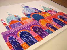 "Basilica San Marco Illustration, 14"" x 11"", Digital Print"