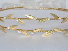 STEFANA Ancient Greek Style Gold Plated Olive Leafs Orthodox Wedding Crowns / Wedding Greek Stefana / Stephana