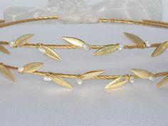 STEFANA Ancient Greek Style Gold Plated Olive Leafs Orthodox Wedding Crowns / Wedding Greek Stefana / Stephana