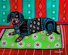 NEW Dachshund ART Poster Dog Folk Art doxie by HeatherGallerArt, $12.00