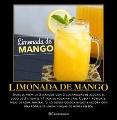 #Bebida #Limonada de #Mango Licúa la pulpa de 2 #Mangos con 2 cucharadas de azúcar, el jugo de 2 #Limones y 1 taza de agua natural. Cuela y agrega 4 tazas de agua mineral. Si lo deseas coloca hielos y decora con una rodaja de limón y hojas de #Menta fresca. vía @candidman