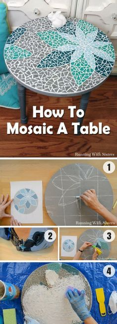How to create a DIY tabletop mosaic /istandarddesign/. Design this with a pentagram or goddess symbol (diy arts and crafts canvas)How to create a DIY tabletop mosaic Stop searching for that perfect outfit by clicking the link and buy that summer outf Mosaic Crafts, Mosaic Projects, Craft Projects, Mosaic Ideas, Easy Mosaic, Project Ideas, Craft Ideas, Home Crafts, Fun Crafts
