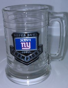 Super Bowl XLVI 46 New York NY Giants Champions Glass Mug w Pewter & Hologram  #NewYorkGiants Just click my pic to Buy it Now Thanks!