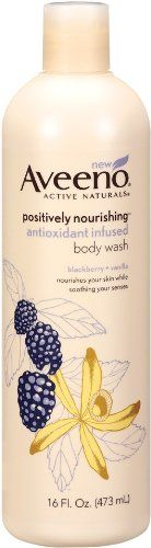 Aveeno Positively Nourishing Anti-oxidant Body Wash Blackberry + Vanilla, 16 ozs., (Pack of 2)