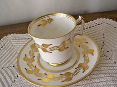 Vintage Teacup and Saucer Royal Chelsea Hand Decorated Gold