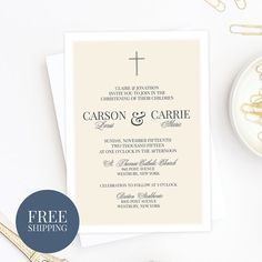 Twins Classic Baptism Invitation | Traditional Christening Announcement | Baby Dedication | Holy Communion Invite | Printed or Digital Files