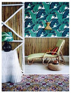 Vintage style tropical prints, teamed with bamboo and cane, evoke the faded grandeur of colonial Cuba in Adrian Briscoe's editorial shot for Homes & Gardens Mag. Styling by Olivia Gregory.