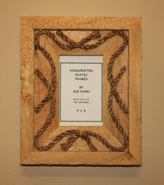 Picture Frame - 4 x 6  - Rustic Wood - Western - Rope - Recycled via Etsy