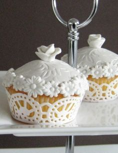 Lace inspired wedding cupcakes for Cake Central Magazine By djehr on CakeCentral.com