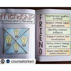 Couldn't agree with @counselorkeri more --Can #friendshipfriday be a thing? Let's make it a thing. These pages are in my elementary school counseling interactive notebook part 2 - we use it as a conversation starter on how friends treat each other and int