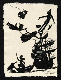 "Peter Pan - Original Papercut Art - tina tarnoff: This is an original Papercut, an art form in which an entire image is hand-cut from a single sheet of paper. The artwork is mounted on beautiful, Indian cotton rag paper, then displayed on a sturdy 11"" x 14"" black mat. It's ready to be placed into a frame, if so desired. Each piece includes a unique certificate of authenticity.  This is an original artwork, not a print. Each piece is entirely handmade, signed and dated. Due to the handcrafted…"