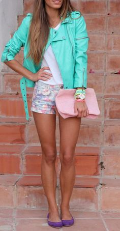 Super bright turquoise leather jacket. So much love in such a small picture.