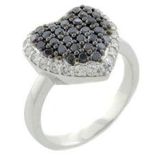 Malakan Jewelry - Silver Black Diamond Heart-Shaped Ring 55763A3