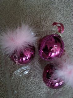 Christmas, Ornaments, Set of 3, Breast Cancer, Pink, Ribbon, Survivor, Fighter, Handmade, Awareness by StylishDecor on Etsy