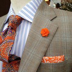 mens lapel flower // mens boutonniere // wedding lapel pin // wool felt lapel flower // tangerine