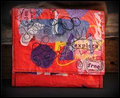 MoSa Studio Art, Free motion, Upcycled shopping bag.....