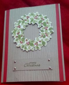 I made this quick card with the Wondrous Wreath sample we got to make at the Stampin' Up! Inspire Create Share convention 2014