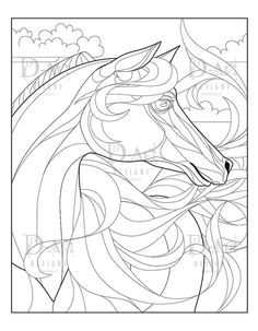 This is a listing for an x 11 coloring page. This piece can make a great hand colored framed print, card, postcard, or any paper craft item Horse Coloring Pages, Colouring Pages, Hand Coloring, Coloring Books, Adult Coloring, Fire Horse, Horse Head, Colouring Techniques, Printable Coloring