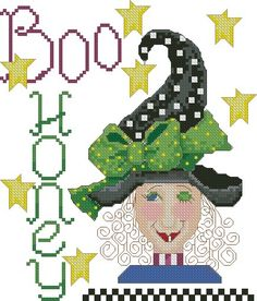 0 point de croix halloween - cross stitch Boo_Honey lady