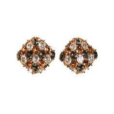 Ciner Champagne, Diamante, and Smoke Rhinestone Earrings  Epitome of high style and elegance Soft squared design that sits like a diamond Sparkling open back Swarovski Rhinestones set in shiny gold tone  DETAILS  1980s Era Designer Signed Ciner Gold tone setting Fold, clear and grey rhinestones Clip-on earrings Excellent vintage condition  MEASUREMENTS 1 square clip-on earrings 3/8 each rhinestone   Thank you for shopping Vintage Meet Modern  To see more of our collection, please click here…