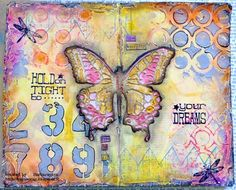 Journal Pages Created by Barbara for the Simon Says Stamp Monday Challenge Stamp and Stencil Fun.  Stamptember 2014