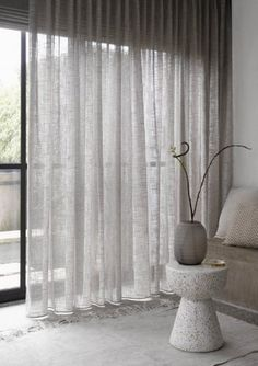 Cool Curtains, Modern Curtains, Linen Curtains, Curtains With Blinds, Contemporary Curtains, Ceiling Curtains, Living Room Modern, Living Room Designs, Living Room Decor