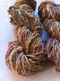 Recycled handspun cotton yarn Art yarn Sari by Yarnyarnyarns, $8.99