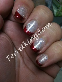 Red Carpet Manicure - Glitz & Glamourous on the tips with 2 coats Gelish Waterfield