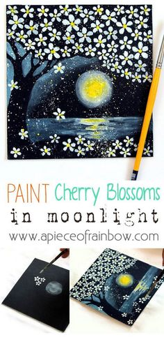 Cherry Blossoms on Black Paper Painting