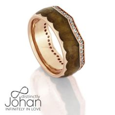 Diamond Eternity Wedding Band, 14k Rose Gold Crown Ring With Teak Wood-DJ1014RG