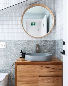 Office Bathroom, Bathroom Renos, Bathroom Interior, Bathroom Ideas, Bunker Home, Concrete Basin, Scandinavian Bathroom, Vogue Living, Tile Design