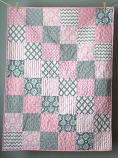 Baby Quilt Girl-Modern Baby Quilt-Pink and Grey Baby Bedding-Pink Grey Quilt-Baby Pink Crib Quilt-Pale Pink Baby Bedding-Homemade Baby Quilt – Quilt Patterns Quilt Baby, Baby Quilts Easy, Baby Girl Quilts, Boy Quilts, Girls Quilts, Rag Quilt, Baby Bedding, Pink Quilts, Baby Quilt For Girls