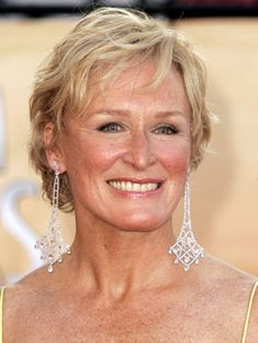 Close-cropped hair? Have fun with over-the-top earrings when you want to look extra glam, like Glenn Close.