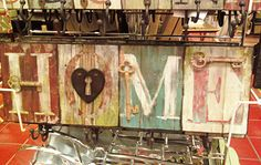 Home sign tutorial--Crafts by Amanda blog (also an Eat sign). The sign in the picture is actually from Pier 1, but the tutorial shows how to make similar signs.
