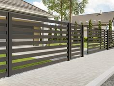 Wow check out this great fence drawing - what a very creative design House Fence Design, Fence Gate Design, Modern Fence Design, Small House Interior Design, House Front Door, House Roof, Fancy Fence, White Farmhouse Exterior, Underground Homes