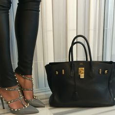 Basixx leather skinnies, valentino #rockstuds, black #birkin 35