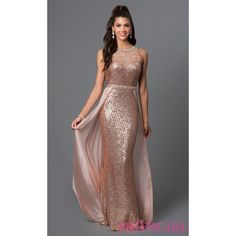 Chiffon Overlay Floor Length Sequin Prom Dress by Elizabeth K ($278) via Polyvore featuring dresses, plus size special occasion dresses, sequin prom dresses, plus size homecoming dresses, sequin cocktail dresses and formal evening dresses