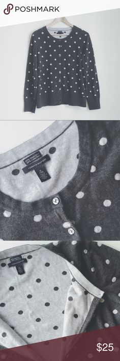 """Tommy Hilfiger grey polka dots cardigan Double-layered cardigan. Dark grey w/ light grey polka dots. 100% Pima Cotton. Size XL, chest 21"""", length 24"""".  Good condition except two holes near the bottom of the buttons.  ✅offer welcome or bundle to save more 🚫no trade Tommy Hilfiger Sweaters Cardigans"""