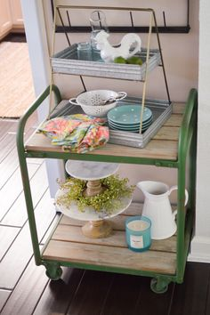 Simple Affordable Cottage Farmhouse Table Decorating Ideas at Fox Hollow Cottage - Like this darling two tiered galvanized tray from the Better Homes & Gardens line. Perfect for table side serving, dessert plates, or just decorating. It's so cute & super versatile. @bhg #sponsored @bhg_livebetter