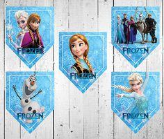 Banderines de Frozen para decorar cumpleaños