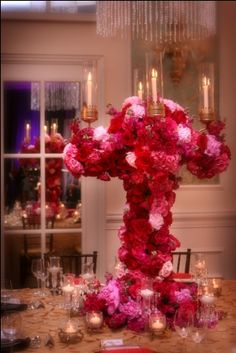 I don't like this.  Too much floral.  Looks like the candelabra is suffocating or has a disease.